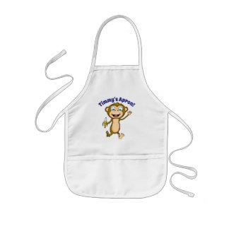 O avental das crianças felizes do macaco