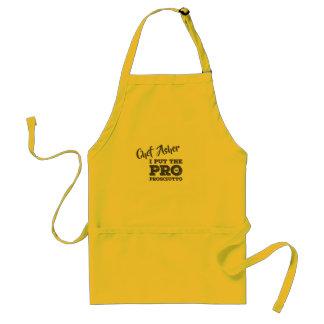 O avental do cozinheiro chefe com nome feito sob