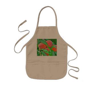 O avental do miúdo - pêssegos nos desenhos