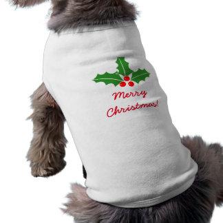 O azevinho do Feliz Natal sae da roupa do animal Camisa Sem Mangas Para Cachorro