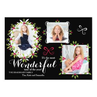 O azevinho molda o cartão com fotos do feriado convite 12.7 x 17.78cm