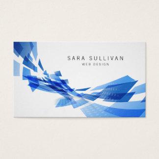 O azul abstrato dá forma ao cartão de visita do
