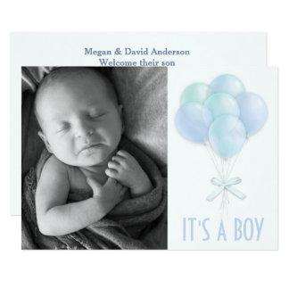 O azul Balloons o anúncio do nascimento da foto do