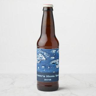 O azul borbulha etiqueta da cerveja da fermentação