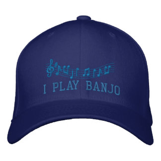 O azul bordou o boné da música do banjo do jogo de