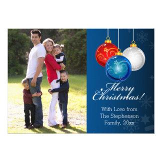 O azul branco vermelho patriótico Ornaments a foto Convite 12.27 X 17.78cm