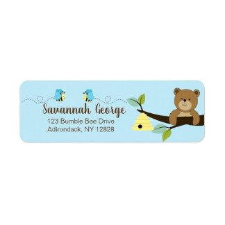 O azul Bumble etiquetas de endereço do urso da