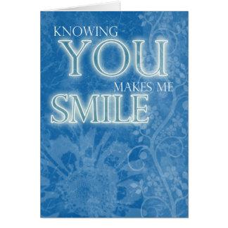 O azul das flores do cartão da amizade faz-me sorr