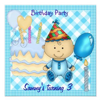 O azul do aniversário de 3 anos do menino da convite quadrado 13.35 x 13.35cm