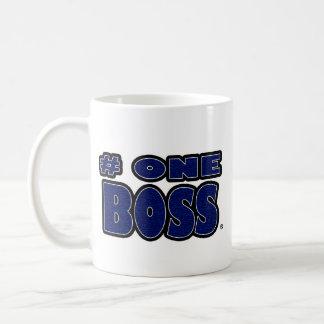 O azul do chefe do número um exprimiu canecas
