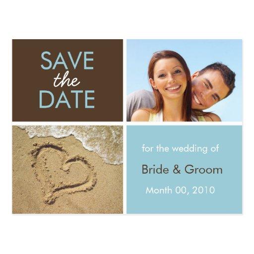 O azul e Brown salvar os cartão da foto da data Cartão Postal