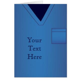 O azul esfrega o cartão uniforme médico