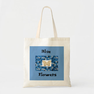 O azul floresce a sacola da borboleta de sacola tote budget