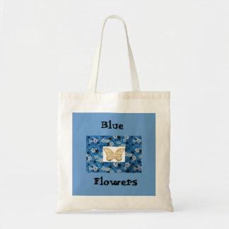 O azul floresce a sacola da borboleta de w/Scripte Sacola Tote Budget
