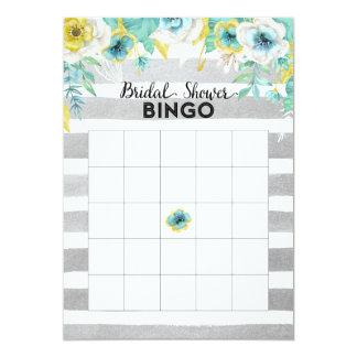 O azul floresce o cartão do Bingo do chá de panela Convite 12.7 X 17.78cm