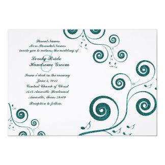 O azul Glittery roda convite do casamento da