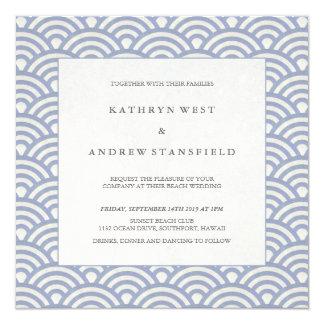 O azul roxo macio acena o casamento de praia convite quadrado 13.35 x 13.35cm