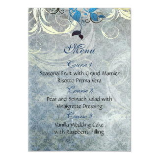 o azul sae do menu do casamento no inverno convite 12.7 x 17.78cm