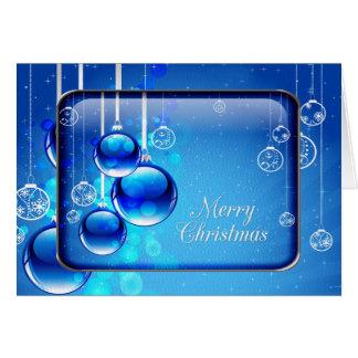 O azul Sparkling Ornaments o cartão do Feliz Natal