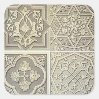 O azulejo árabe projeta (o litho da cor) adesivos quadrados
