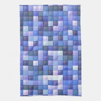O azulejo azul do banheiro esquadra o teste padrão pano de prato