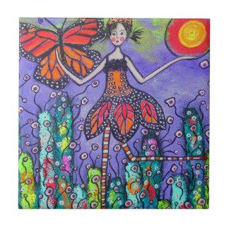 O azulejo mágico da menina e da borboleta do monar