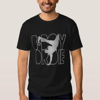 O B-Menino ou morre silhueta - prata Tshirt