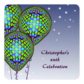 O balão azul convida convite quadrado 13.35 x 13.35cm