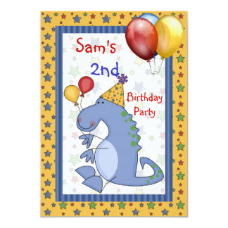O balão do dinossauro do segundo aniversário Stars Convite 12.7 X 17.78cm
