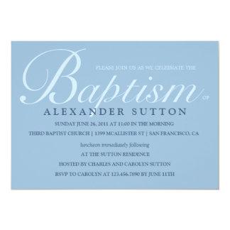 O baptismo/batismo azuis simples convida convite 12.7 x 17.78cm