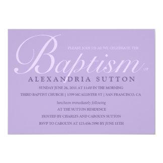 O baptismo/batismo simples da lavanda convida convite 12.7 x 17.78cm