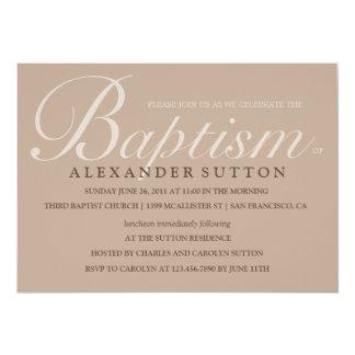 O baptismo/batismo simples de Brown convida Convite 12.7 X 17.78cm