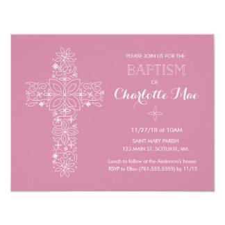 """O baptismo cor-de-rosa convida - 4,25"""" x 5,5"""" convite 10.79 x 13.97cm"""
