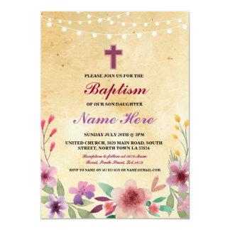 O baptismo Jesus transversal floral do batismo do Convite 12.7 X 17.78cm