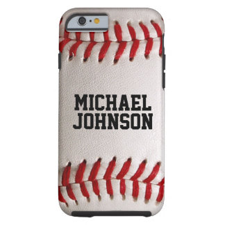 O basebol ostenta a textura com nome personalizado capa tough para iPhone 6