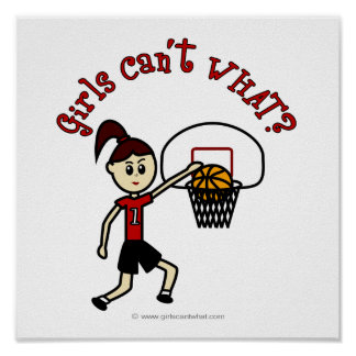 O basquetebol das mulheres vermelhas claras posters
