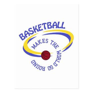 O basquetebol faz o mundo ir circularmente cartão postal