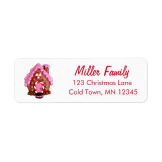 O bastão de doces da casa de pão-de-espécie listra etiqueta endereço de retorno