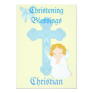 O batismo do menino Bênção-Personaliza Convite 12.7 X 17.78cm