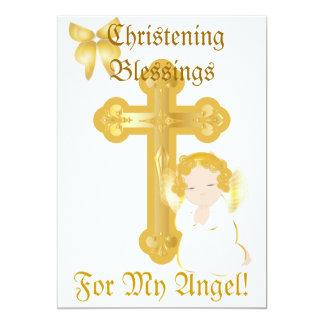O batismo do meu anjo Bênção-Personaliza Convite 12.7 X 17.78cm