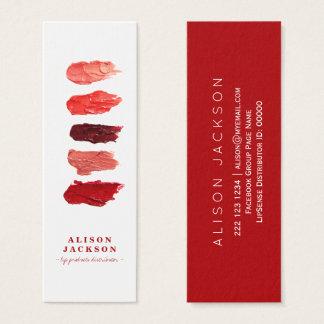 O batom colore o maquilhador do vermelho do rubi cartão de visitas mini
