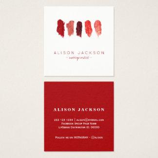 O batom colore o maquilhador do vermelho do rubi cartão de visitas quadrado