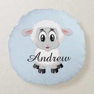 O bebê bonito do animal de fazenda dos carneiros almofada redonda
