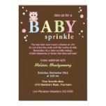 O bebê cor-de-rosa da coruja polvilha o convite convite 12.7 x 17.78cm