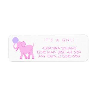 O bebé cor-de-rosa do circo | adorável etiqueta endereço de retorno