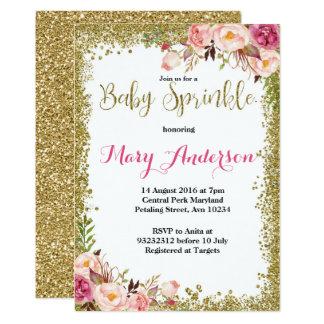O bebê cor-de-rosa do ouro polvilha convites