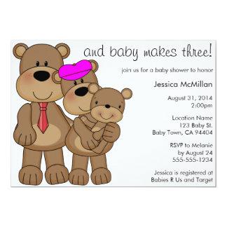 O bebê de três ursos faz três chás de fraldas convite 12.7 x 17.78cm