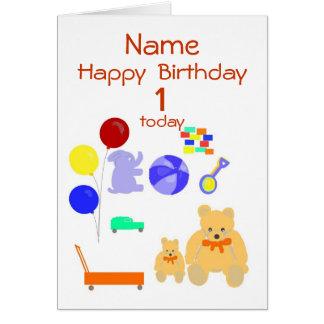 O bebê de um ano do cartão do feliz aniversario,