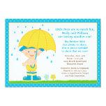 O bebê do guarda-chuva polvilha o azul do chá para convite 12.7 x 17.78cm