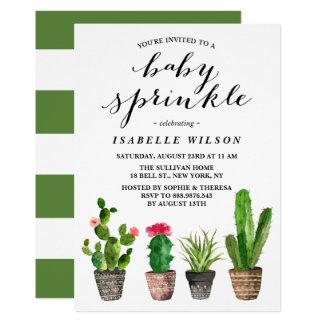 O bebê do verão dos Succulents da aguarela de Boho Convite 12.7 X 17.78cm